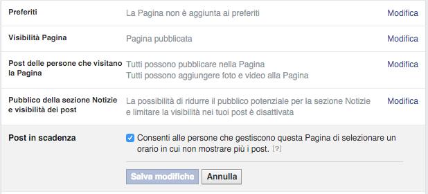 Abilitare i post scadenza facebook