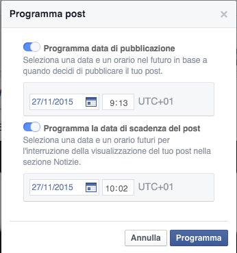 Finestra scedenza post facebook