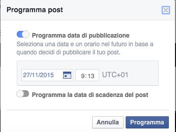 finestra programmazione post facebook