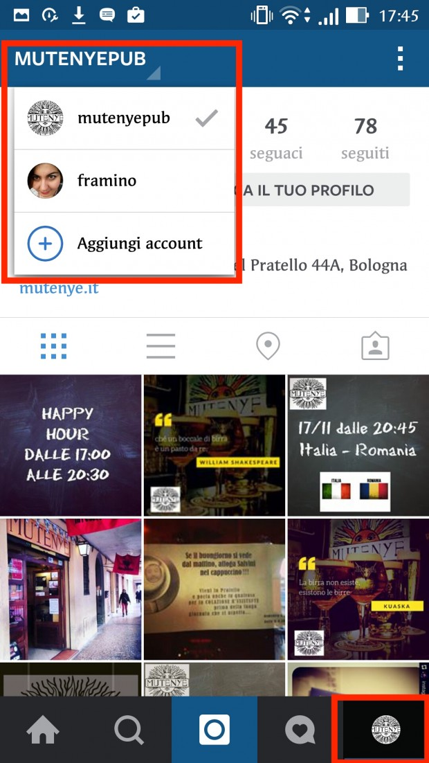 gestire diversi profili instagram