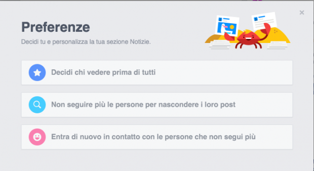 Personalizza feed facebook