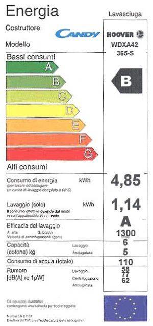 Hoover WDXA42-365-S etichetta energetica
