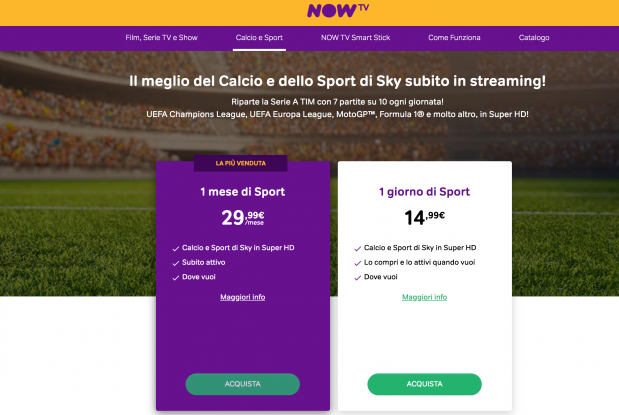 nowtv acquista sport