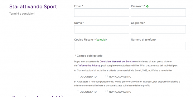 nowtv registrazione utente